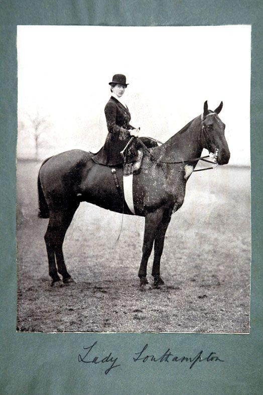 Lady Southampton riding side saddle, c. 1900