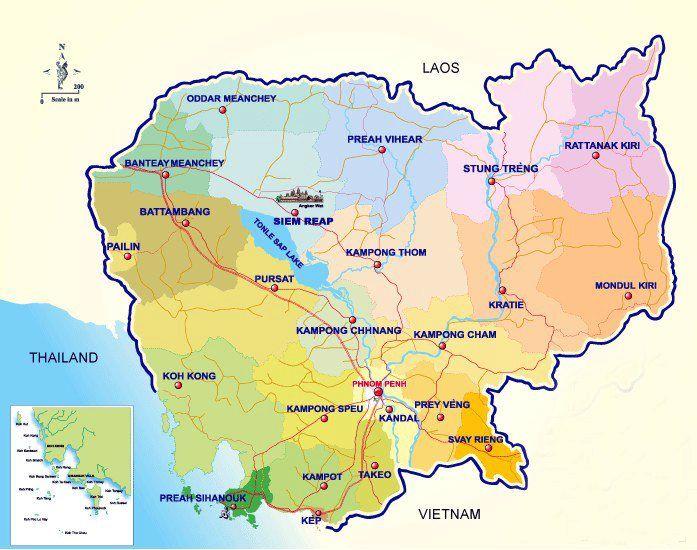 Mapa De Camboya Mapas Principales Destinos Turisticos De Camboya