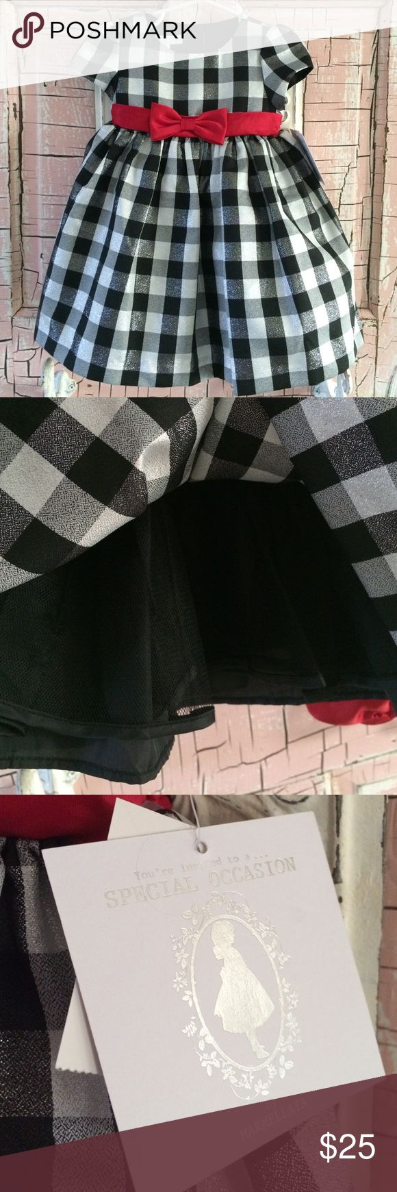 Baby girl holiday dress NWT!  Adorable black, white and silver checkered dress with a red sash. Marmellata Dresses Formal