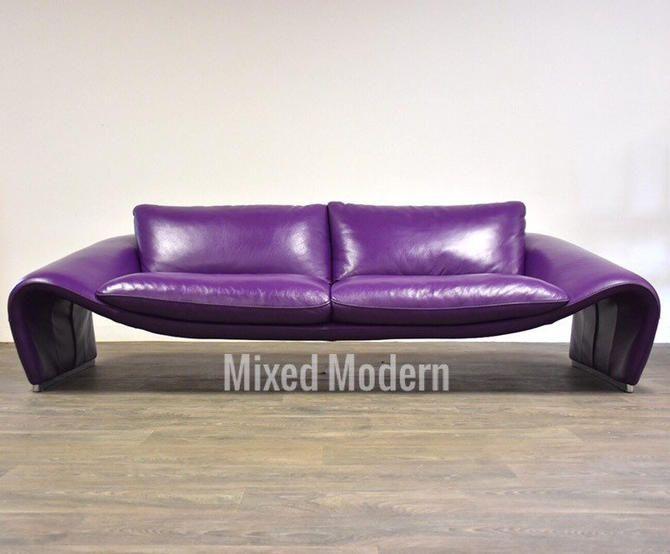 Chateau D Amp 39 Ax Italian Modern Purple Leather Sofa By