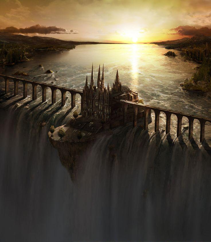 Waterfall Castle matte art by Fstarno dans Light…