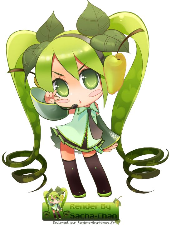 Render Vocaloid Chibi Miku Hatsune Vert verte pomme apel kawai fan ...