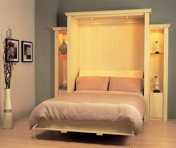 handpainted traditional design wallbed with display units and lighting throughout - Wallbeds