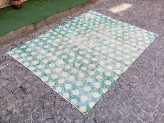 5 6x7 4 Feet Muted Turquoize Rug Overdyed Floor Rugs Distressed Suquare Turkish 4330