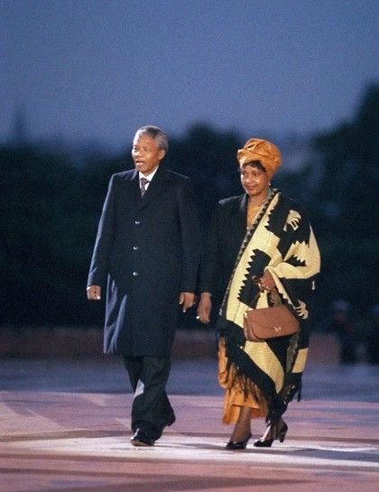 Mandela and Winnie attending a ceremony in his honor at Trocadero Square in paris