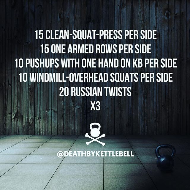 ⚫ Here's a kettlebell workout with some compound movements and some pushing and pulling to get your week started off right:  15 Clean-squat-press per side 15 One armed rows per side 10 Push ups with one hand on kettlebell per side 10 Windmill-overhead squats per side 20 Russian twists x3