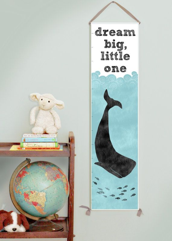 Dream Big Little One nautical whale canvas growth chart.  Great decor for a boy, girl, or gender neutral nursery. 50% of all profits go straight to orphan care ministries, missions, and adoptions.