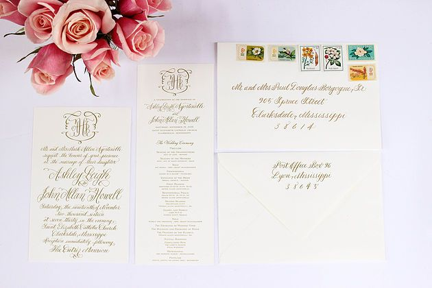 Beautiful Custom Wedding Invitation Suite by Beth Hunt Calligraphy | Oxford, Mississippi  #calligraphy #moderncalligraphy #lettering #brushlettering #brides #wedding #weddings #events #invitation #oxford #mississippi #clarksdale #delta