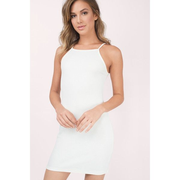Tobi Double Mint Ribbed Dress (275 HRK) ❤ liked on Polyvore featuring dresses, cream, bodycon dress, mint green bodycon dress, cream dress, cream slip dress and white body con dress