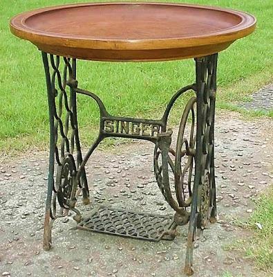 large wood bowl tray on singer sewing machine base
