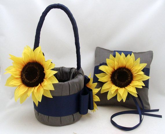 Sunflower Flower Girl Basket and Ring Pillow Set in Gray and Navy Blue...I LOVE THIS