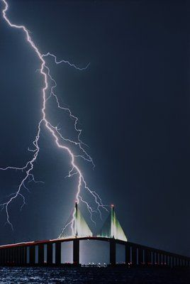 Lightning strikes the Sunshine Skyway Bridge in St. Petersburg, Florida on a summer night in 1994.