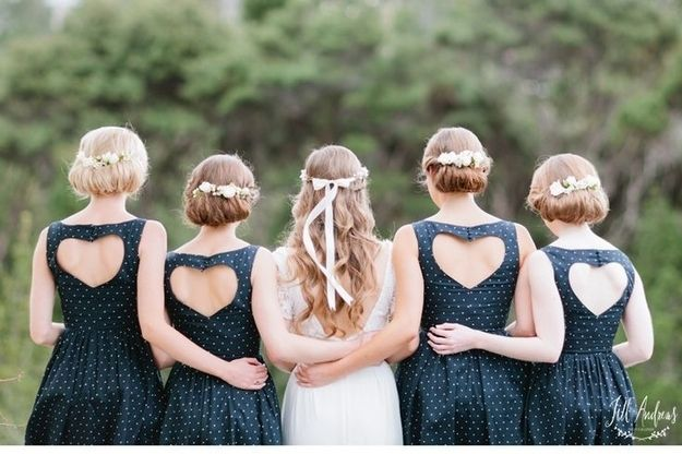 Incorporate hearts into your bridesmaids' dresses.   31 Impossibly Romantic Wedding Ideas