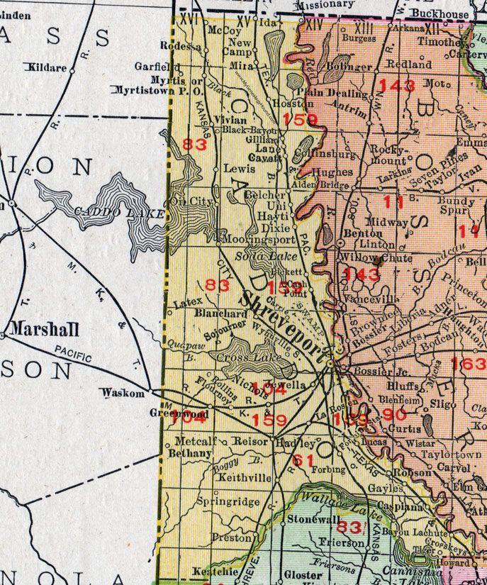 Caddo Parish, Louisiana, 1911, Map, Rand McNally, Shreveport, Belcher, Blanchard, Hosston, Gilliam, Ida, Mira, Vivian, Rodessa, Mooringsport