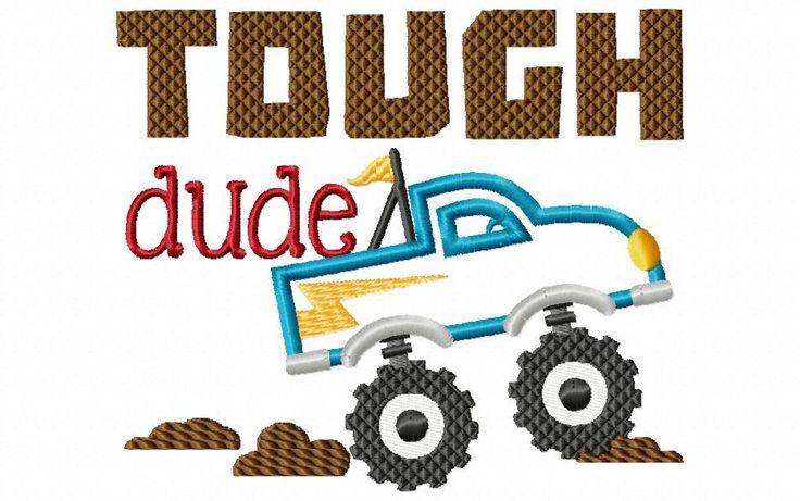 Monster Truck Tough Dude BOYS APPLIQUE MACHINE EMBROIDERY DESIGN 4X4, 5X7 & 6X10 - Breezy Lane Embroidery