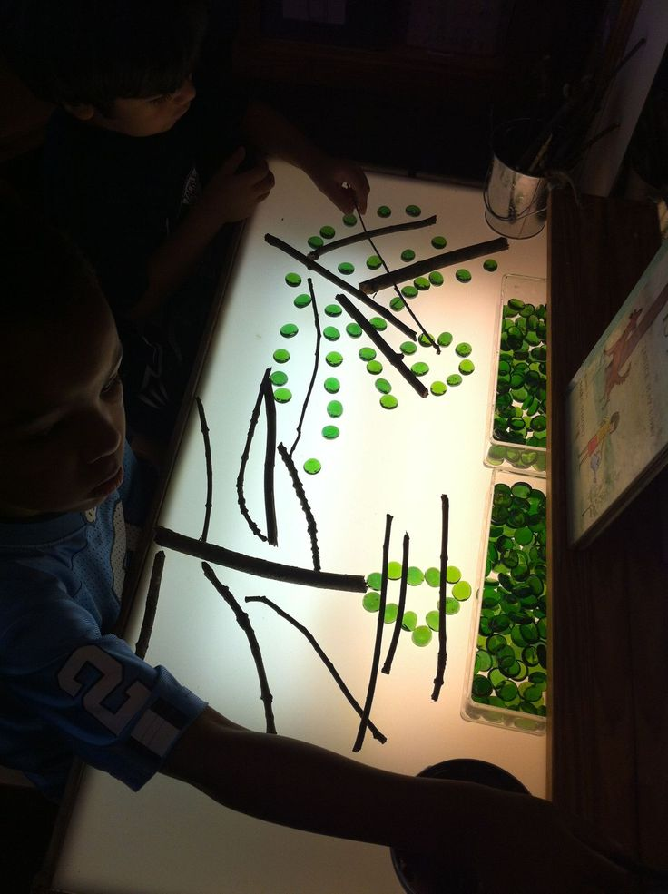 Light Table Trees-sticks and green (or other colors for fall) marble chips