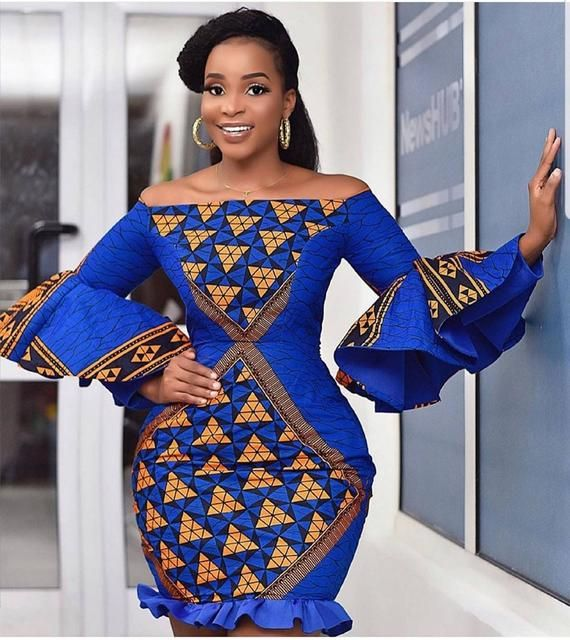African Print Mini Dress  Off Shoulder Dress  African Clothing  Ankara Dress   Ankara Party dress  flare sleeves
