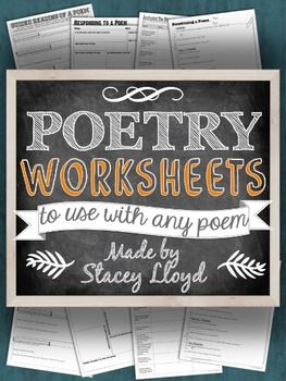WAIT! You can buy this product in my Poetry Bundle & *SAVE* $2! ************************************************************************** These worksheets are intended to help students approach poetry. They are designed to scaffold the process of interpreting, analyzing and comprehending poetry.Moreover, these worksheets were designed to be visually attractive and academically engaging for secondary school students.  These worksheets can be used withany poem and cover the following:...
