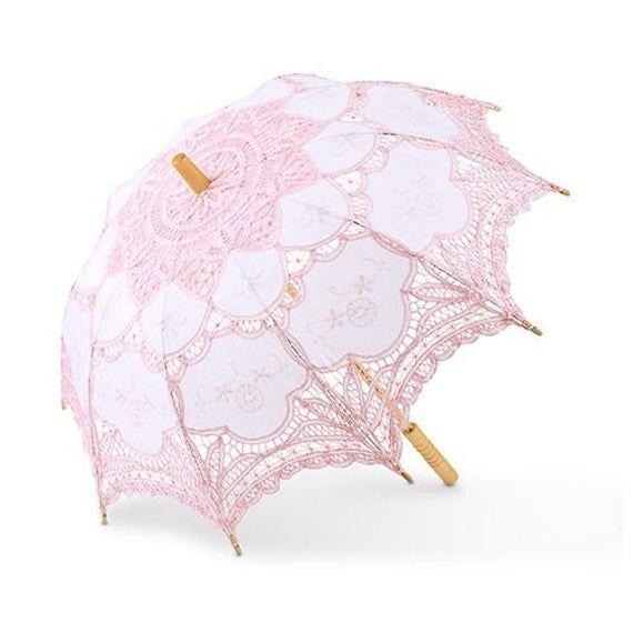 quinceanera bridal shower lace parasol, White lace parasol victorian parasol Wedding Lace Parasol