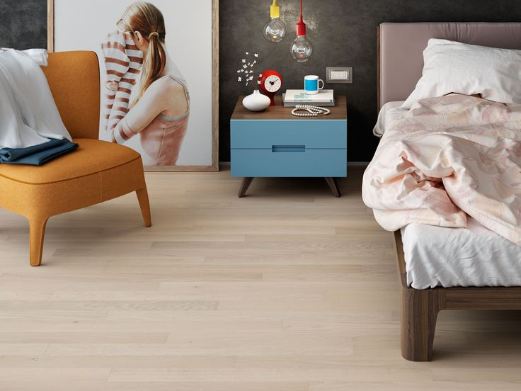 #parquet Rovere Sbiancato, #Dream 90 collection by Woodco. #bedroom #colours #pink #romantic #wood