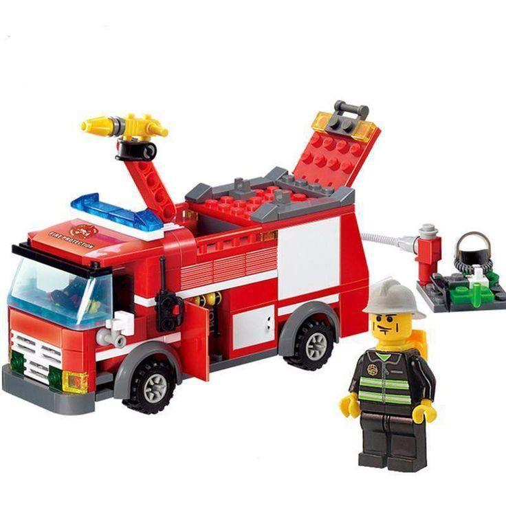 Brick Minifigure RESCUE Fire Engine Set (206 Pieces)