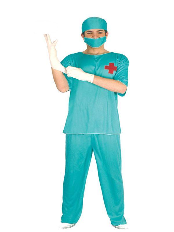 El disfraz de medico cirujano hombre, incluye Gorro, mascarilla, camiseta y pantalón en DisfracesMimo.com