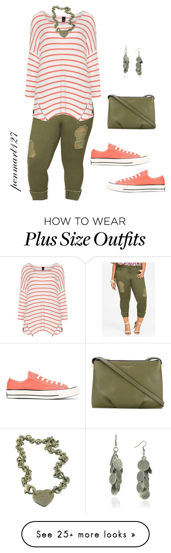 """Peach and Olive #Plussize"" by penny-martin on Polyvore featuring Ashley Stewart, Marc Jacobs, Converse, Tiffany & Co. and WithChic"