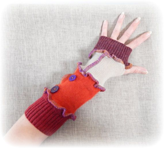 Steampunk Armwarmers, Recycled Thumbhole Gloves, Fingerless Gloves, Hand Warmers, Rust Orange Gloves, Upcycled Mittens, Eco Wrist Warmers