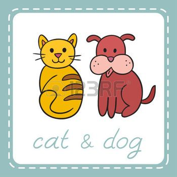 PES+A+KOCKA%3A+Pets+animals+dog+and+cat+puppy+and+kitten.+Domestic+animals%2C+illustration+of+best+friends.+illustration+for+your+cute+design.