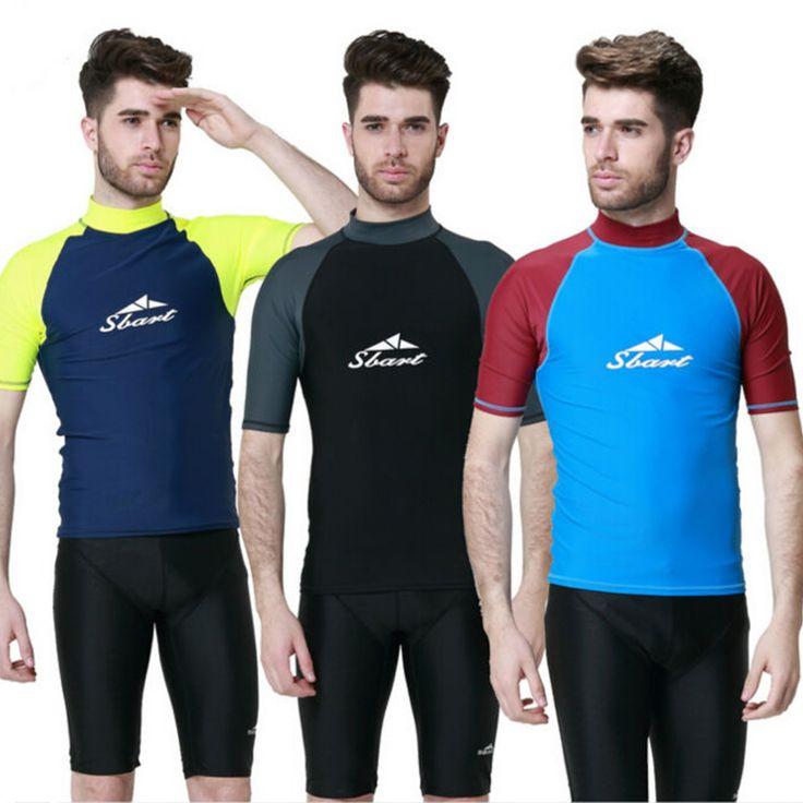 Men Rash Guard Short Sleeve Surfing Vest Diving Shirt SwimmingTop Swimwear Surfing Snorkeling Windsurf Sports Men's Beach Shirt #Affiliate