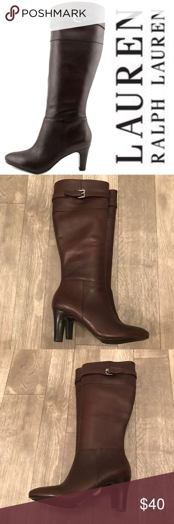 Ralph Lauren Susie Brown Leather Knee High Boot Brand new without box! Size 5. Lauren Ralph Lauren Shoes Heeled Boots