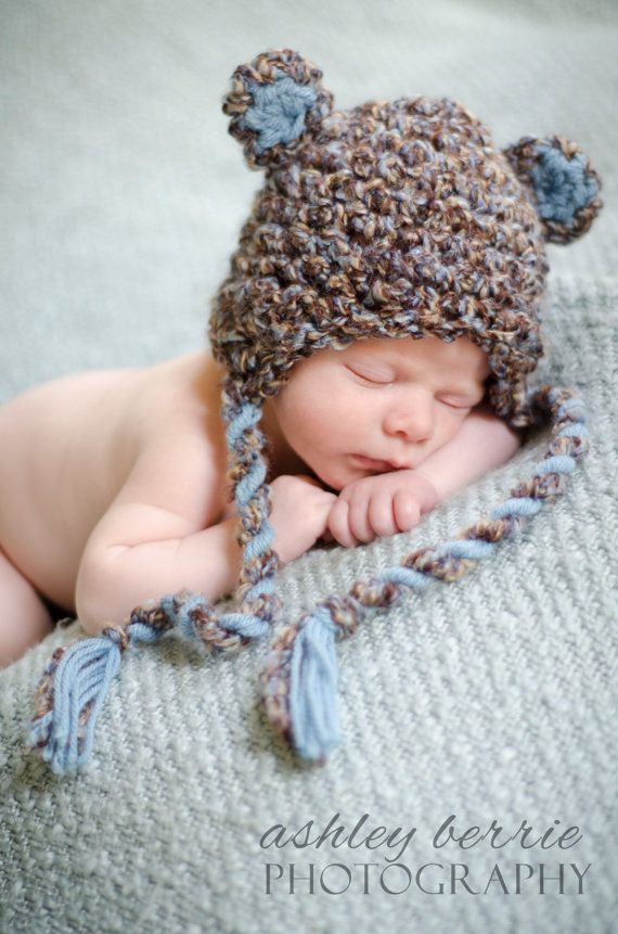 Newborn Baby Boy Brown and Blue Earflap Crochet Bear Hat, Great for Photo Prop