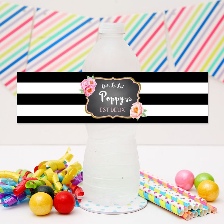 Paris Ohh La La Drink Labels | Personalised Paris Ohh La La Water Bottle Labels for your Paris themed birthday party | Visit website for details and for more matching Ohh la la Paris party stationery from Print & Party.