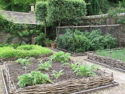I want to edge my gardens with these homemade fences: Gresgarth Hall, Edible Landscape, Wattle Edge, Vegetables Gardens, Rai Gardens Beds, Kitchens Gardens, Rocks Rose, Wattle Fence, Willow Branches