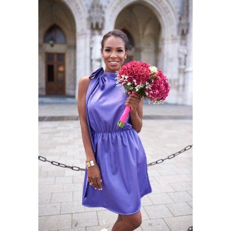 Purple, satin dress, bow dress for hot days, summer flowers, buquet, wmwear.com