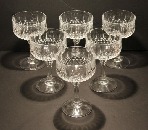 cristal d 39 arques durand longchamp crystal champagne sherbets 5 5 8 tall set of 6 asking 39. Black Bedroom Furniture Sets. Home Design Ideas