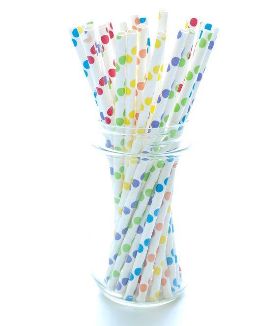 Rainbow Color Polka Dot Straws Large Straws Biodegradable