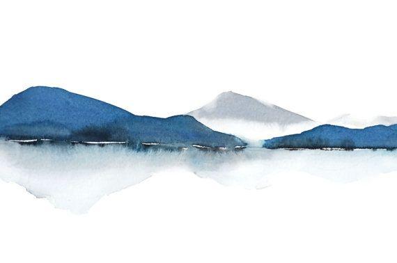Azul y blanca pintura impresión, paisaje azul gris pintura, acuarela, montaña arte, arte de pared blanca gris, agua arte de reflexión