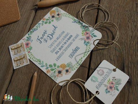 Rusztikus Esküvői meghívó, Vintage meghívó, Bohém, Rusztikus Esküvői lap, tavaszi, virágos meghívó, Esküvő, Naptár, képeslap, album, Meghívó, ültetőkártya, köszönőajándék, Képeslap, levélpapír, Meska