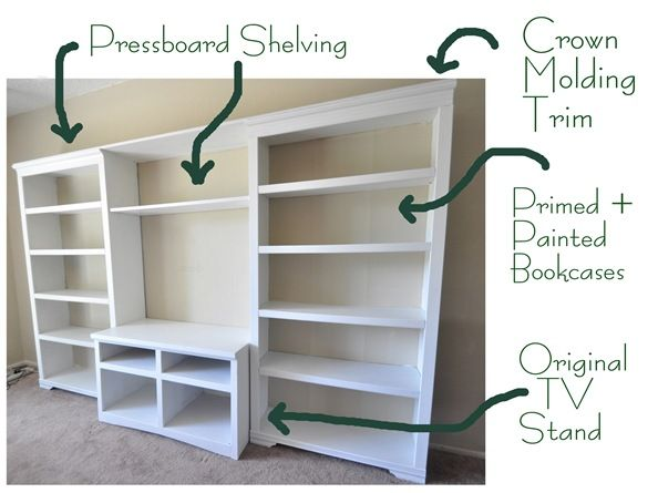 Fantastic -- she spent $60 to create this entertainment unit out of an old, dark TV stand and bookcases.
