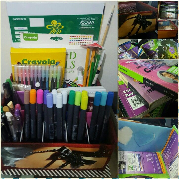 Recycled my unused pamphlets and old cosmo magazines. Organized clutter with my pens, pen markers, colored pencils and more.