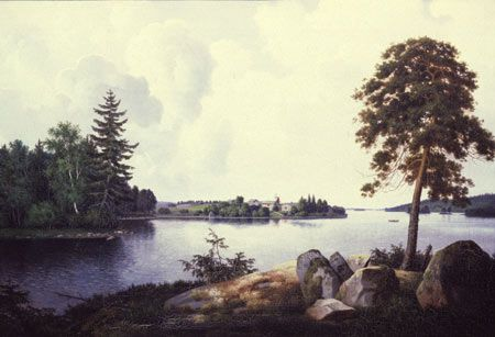 """""""Vanha Haminalahti"""", 1857. Yksityiskokoelma - oil on canvas - Ferdinand von Wright (1822-1906) - Ferdinand painted this work based on the memory in brother Wilhelm's house Orust, Sweden in 1857. He painted the manor house from this angle several piece."""