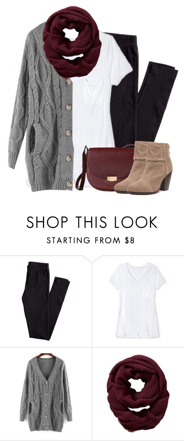 """Gray cardigan, burgundy scarf with leggings"" by steffiestaffie ❤ liked on Polyvore featuring H&M, Mossimo, Old Navy and rag & bone"