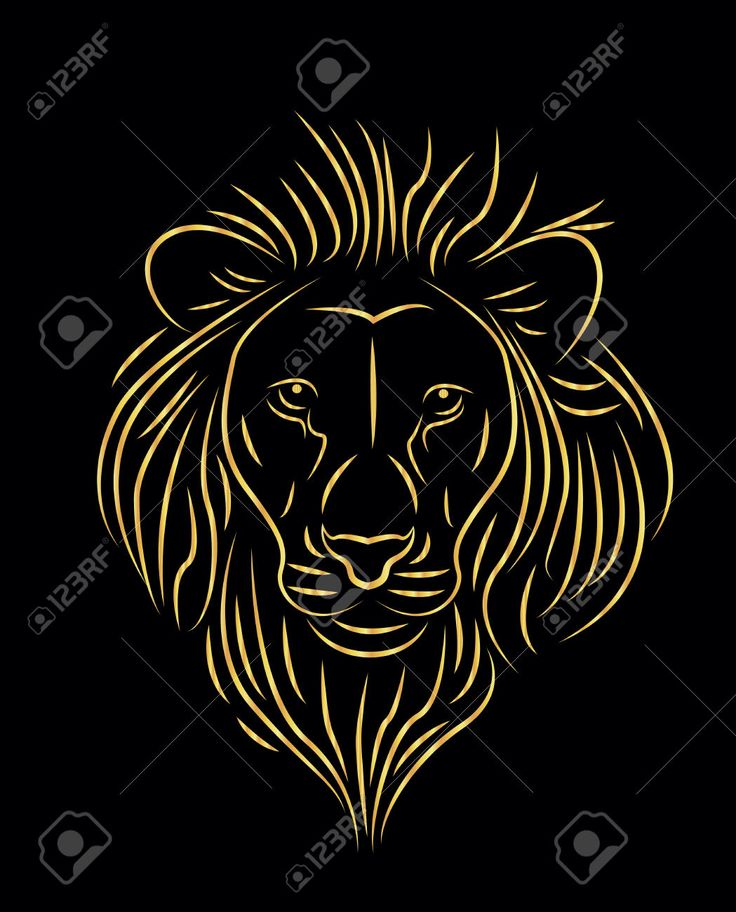 Vector Illustration Of Golden Lion Drawing Royalty Free Cliparts ...