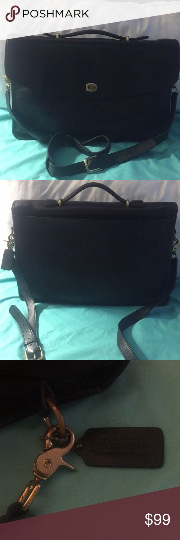 Coach Briefcase Coach briefcase in Black. Handle on top and adjustable strap. Outside large pocket. Inside large area with zip pocket and on other side pocket and pen pockets. Another large pocket in front of main compartment of briefcase. Coach Bags