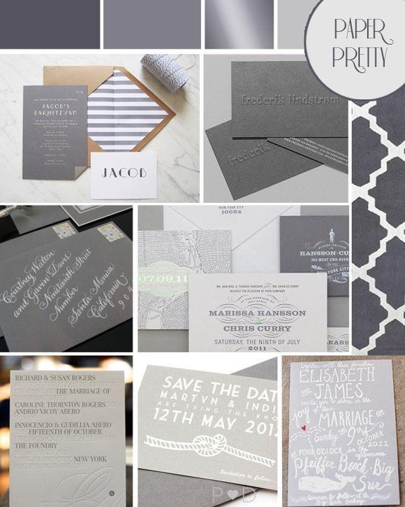 grey wedding stationery inspiration board via Love My Dress