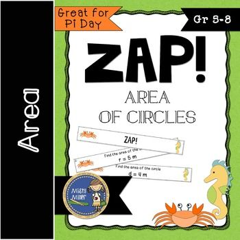 Review or practice finding area of circles with this fun and engaging math game! A perfect math game for math centers or early finishers. Players try to hold on to their strips and not get ZAPPED.   Great for Pi Day activities!!  Area of Circles Don't Get ZAPPED contains: ✢ 2, cards with finding area of circles (diameter and radius given, whole numbers only) ✢ 4 You've been ZAPPED cards ✢ game directions ✢ a label for your container ✢ an exit ticket ✢ an answer key  I've included 2 strip…