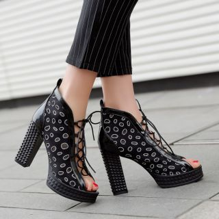 Trendy Black And Silver Lace Up Chunky High Heel Shoes