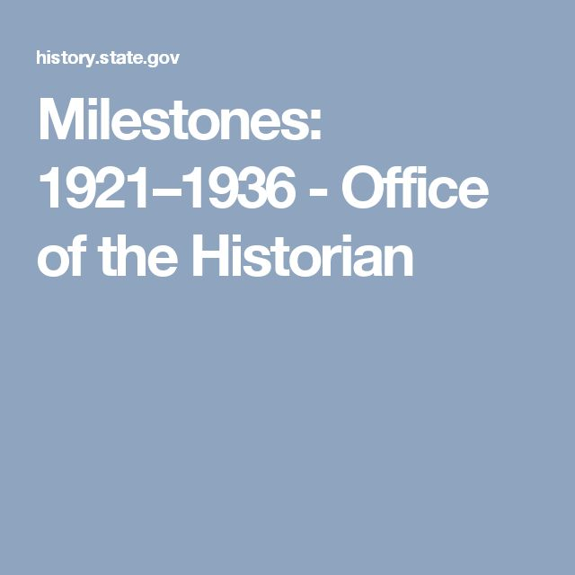 Milestones: 1921–1936 - Office of the Historian