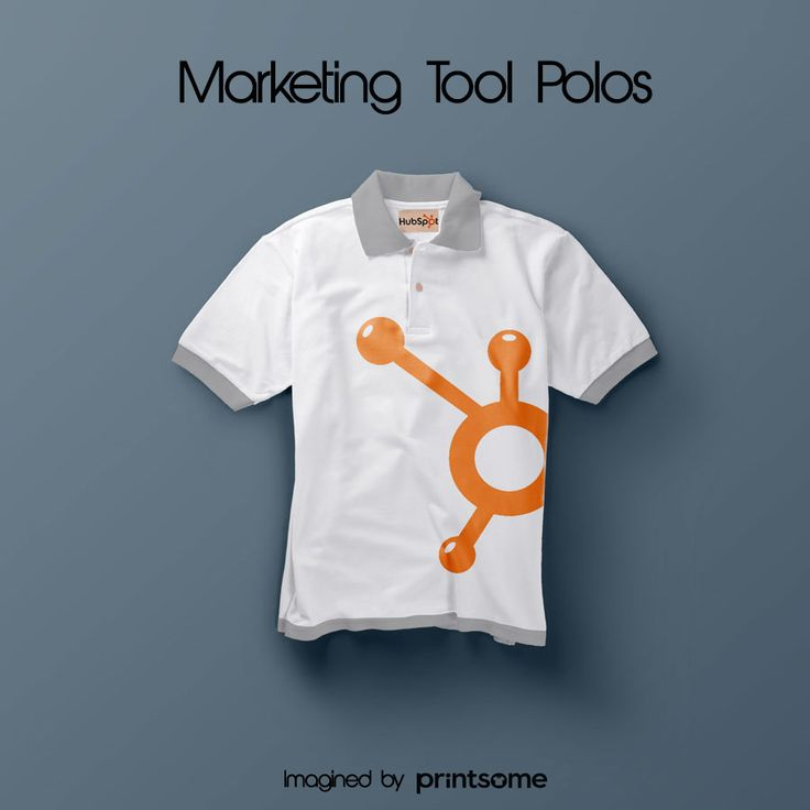 We believe that promotional t-shirts can be really cool. That's why we've designed awesome personalised polo shirts for the most famous marketing tools! #Hubspot #polo #polodesign